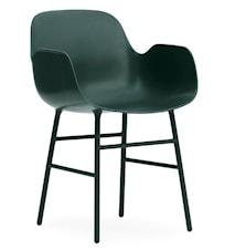 Form Stol med armlene stål - Grønn