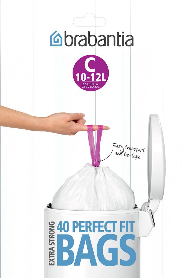 Affaldsposer C, 10-12Ltr [Dispenser Pack med 40 poser] White