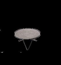 O Table Spisebord Sort/Grå Marmor Ø100 m