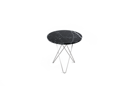 Tall Mini O Table Svart Marmor Rostfri Stålram Ø50