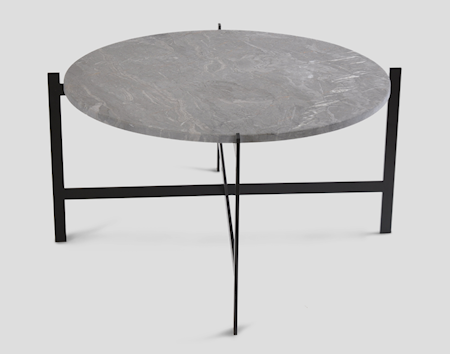 OX DENMARQ Deck table large - grå marmor/svartlackerad stomme