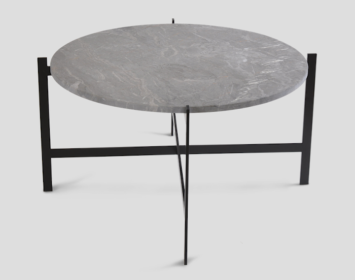 Deck table large - grå marmor/svartlackerad stomme