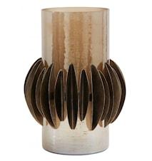 Ljusstake Glas/Metall Brun 25cm