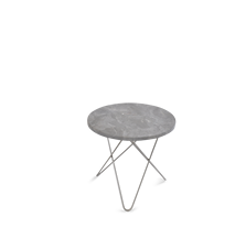 Mini O Table Grå Marmor med Rustfri Stålramme Ø40