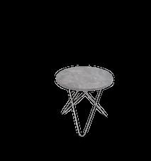 Mini O Table Grå Marmor med Rostfri Stålram Ø40
