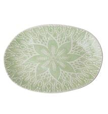 Fat Lace Print D:25 cm Keramik Grön