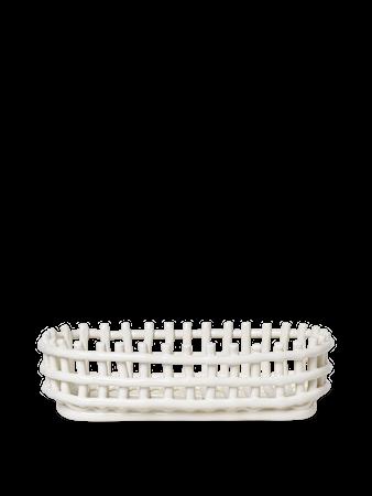 Ceramic Basket Korg Oval Off-White