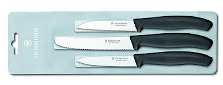 Grønnsaks- & skallknivsats svart håndtak, 3 deler, plastlomme