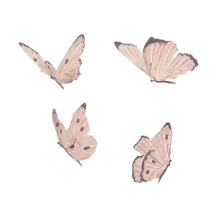 Väggdekoration Butterflies 4-pack Dusty Rose
