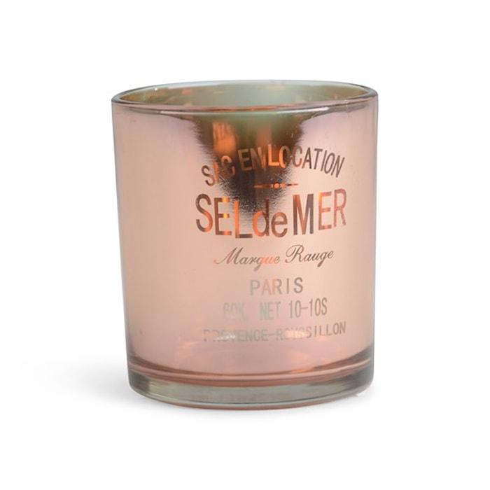 Lyslykt i glass, med teksten «Sel de Mar»