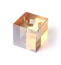 Kube Krystalglas Lysestage Amber