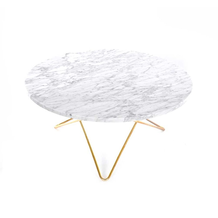 O Table Vit Marmor med Mässingram Ø80