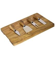 Ostset med träbricka 4 st knivar
