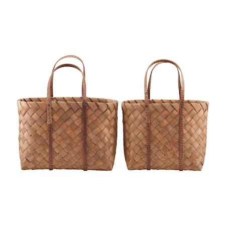 Korgar/Väskor, Beach, Brun, Set med 2 st storlekar, (L: 40 cm, w: 20 cm, h: 30 cm,) (l: 50 cm, w: 22 cm, h: 30 cm)