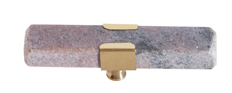 KNOB/HOOK rose marble rectangle brass