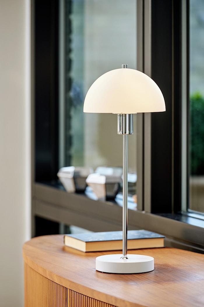 Vienna bordlampe hvit glass E14