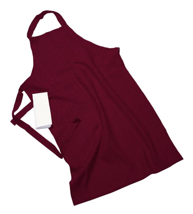 Erik classic lång förkläde – Med handduk cherry