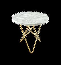 Mini O Table Matt Vit Marmor med Mässingram Ø40