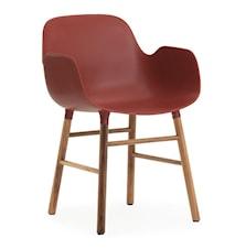 Form Stol med armlene valnøtt - rød