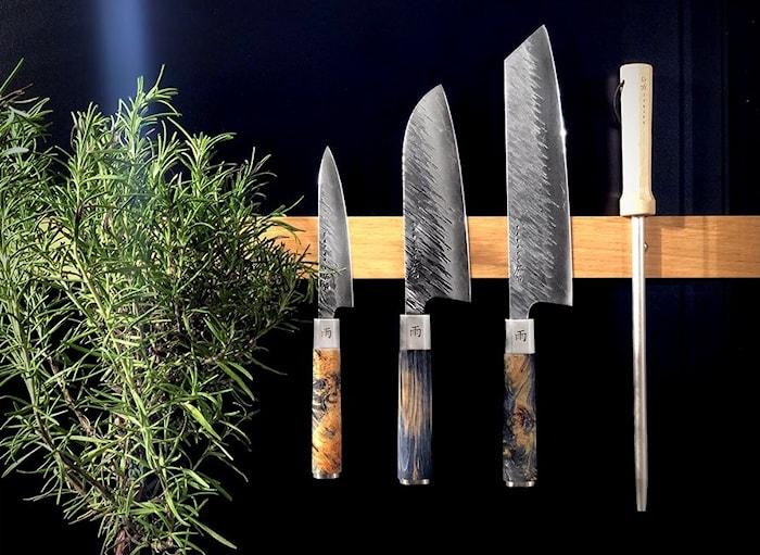 Ame 21 cm kockkniv. 5 lager AUS10 stål med regnmönster. 60-61 HRC