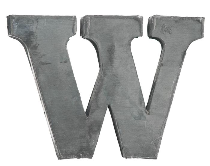 Zinc letter, W
