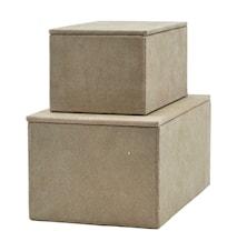 Förvaringslådor, Beige, Set med 2 st, (L: 15 cm, w: 9 cm, h: 7 cm) (l: 20 cm, w: 12 cm, h: 9 cm)