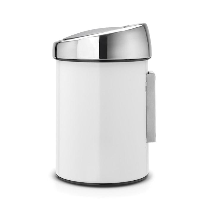 Touch Bin (för vägg) med blankborstat stållock, plastinnerhink 3 L Vit
