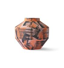 Håndmalet Ceramic Vase Orange/Black