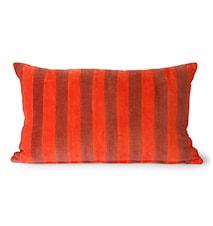 Striped Velvet Cushion Red/bordeaux 30x50 cm
