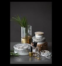 Dåse med låg, Narcisse, sølv, Ø8 cm