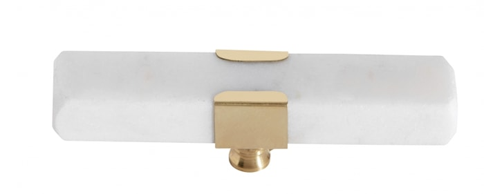 KNOB/HOOK, white marble rectangle, brass