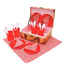 Picknick set i plast, 21 delar, Röd