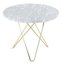 O Table Matbord Mässing/Matt Vit Marmor Ø80