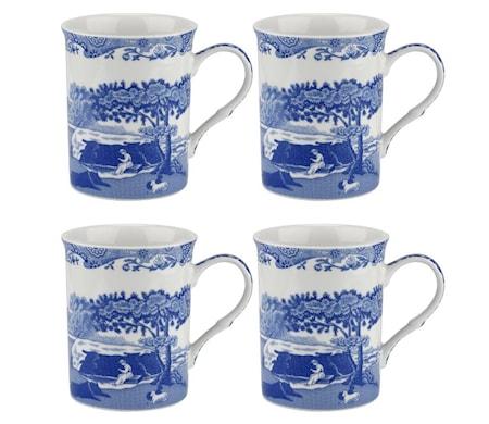 Blue Italian Mugg 4-p