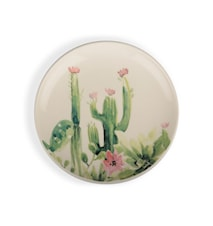 Assiett kaktus vit/grön/rosa