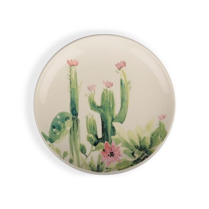 Asjett Hvit/grønn/rosa kaktus, 18,5 cm