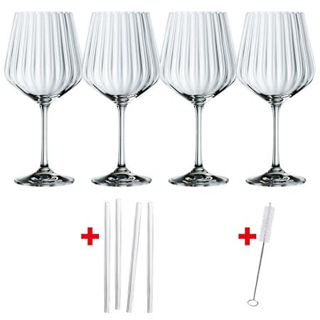 Feel Good G&T glas 64 cl 4-pack +  Sugrör
