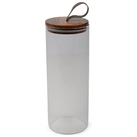 Form Living Burk glas med trälock och skinnknopp Acke 1.9l 27.5x10cm Transparent