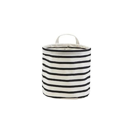 Oppbevaringspose Bomull Striper Svart/Hvit Ø20cm
