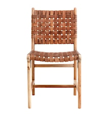 Dinner chair weaving, brown leather/wood