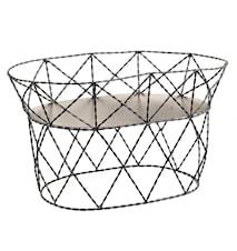Day home High Tray Bricka/liten korg Flätad ståltråd 24x38x22 cm Svart