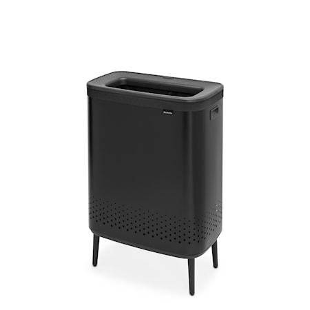 Bo Tvättkorg HI Mattsvart Plastlock 2x45L