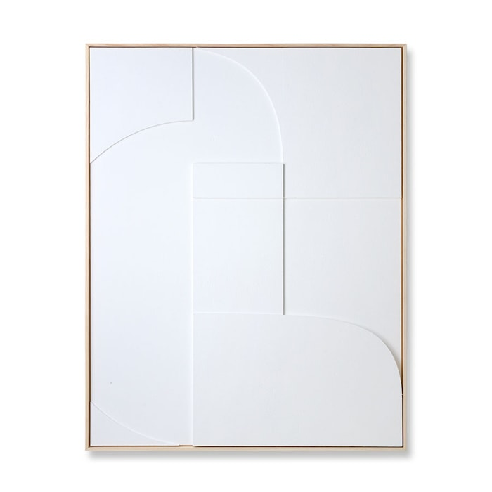 Framed Relief Art Panel White A Extra Large