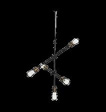 Taklampa Molecular 5 68cm Mässing/svart