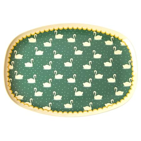 Melamine Rectangular Plate with Swan Print - Khaki