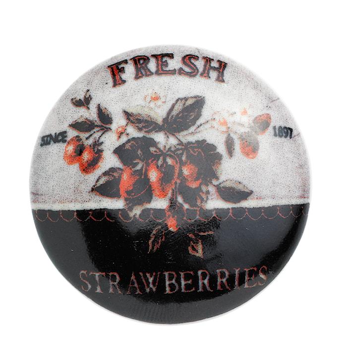 Keramikknopp jordgubbe Ø 5cm - Vit