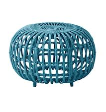 Alu rattan ottoman – Ø55, Blue