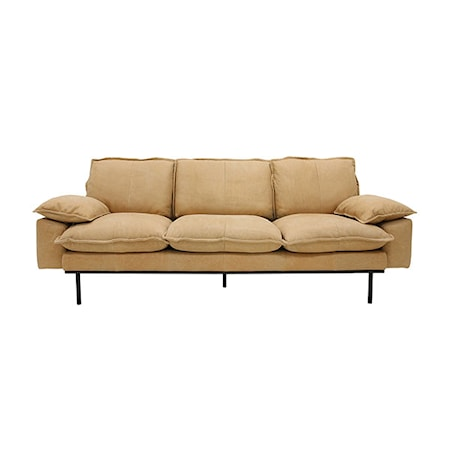 Retro Sofa Læder 3-pers Beige