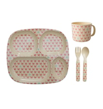 Crab and Starfish Print Baby Dinerset 4-delig Roze