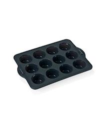 Muffinsform 12 stk grå silikon